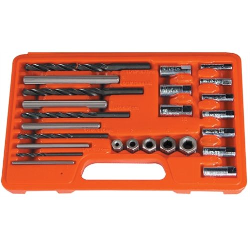 SCREW EXTRACTOR/DRILL & GUIDE SET-10 PC
