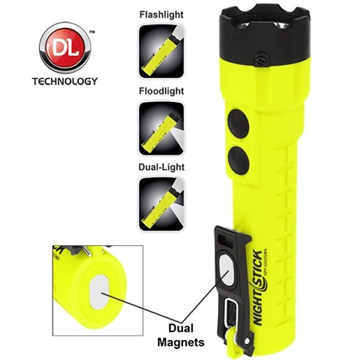 Dual-Light Flashlight with Dual Magnets - Green