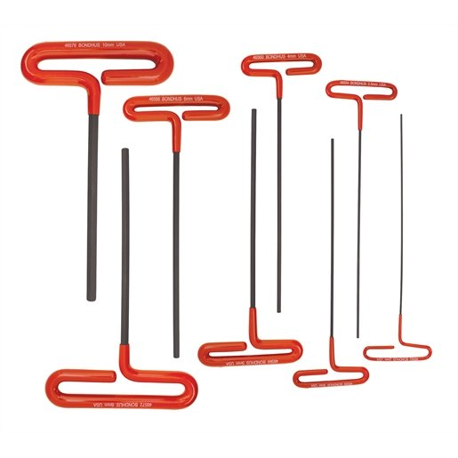 """9"""" Cushion Grip Loop T-Handle Hex Wrenches, 8 piec"""