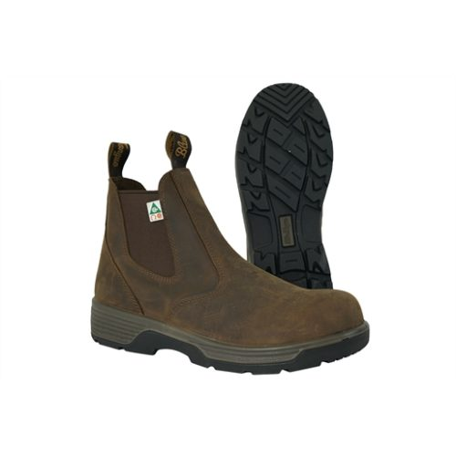 Cigar Brn 6 in. Comp Safety Toe Slip-On Boots, 9