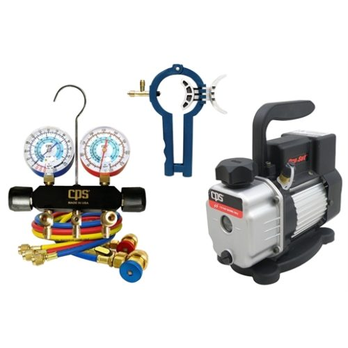 Vacuum pump with manifold and can tap kit