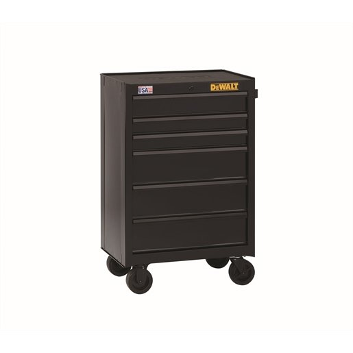 6-Drawer Rolling Cabinet, 26.5 in., Black
