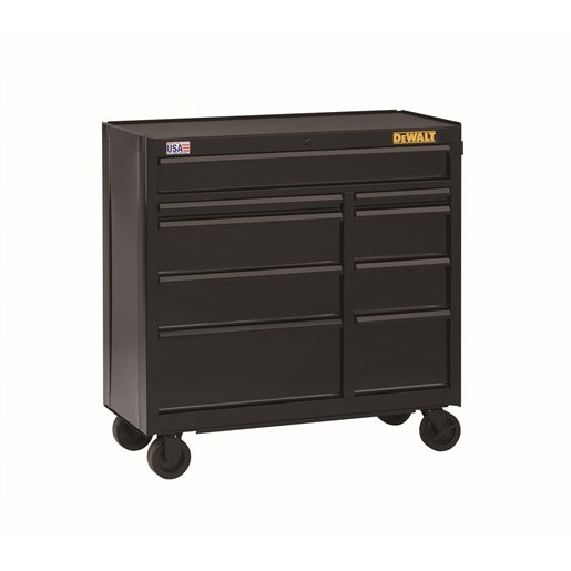 9-Drawer Rolling Cabinet, 41 in., Black