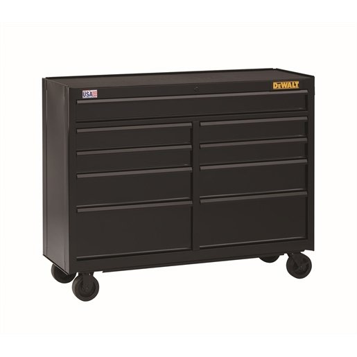 9-Drawer Rolling Cabinet, 52 in., Black