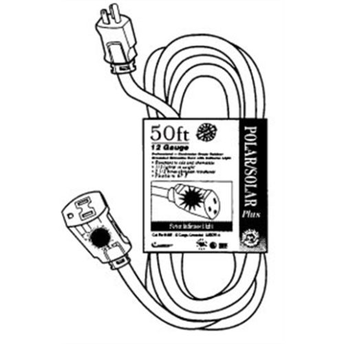 EXT CORD 50' 16/3 YEL LITED END