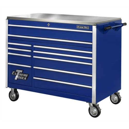 55 in. 11-Drawer Professional Roller Cabinet, Blue
