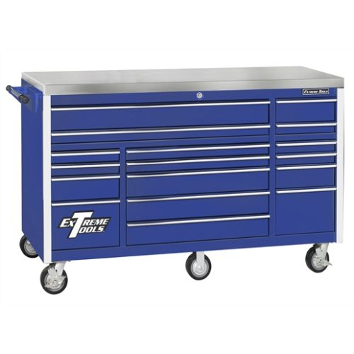 72 in. 17-Drawer Triple Bank Roller Cabinet, Blue