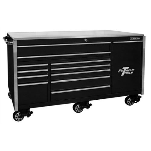 76 in. 12-Drawer Professional Roller Cabinet, Blac