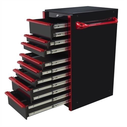 19in 8-Drawer Side Box, Black-Red Handles