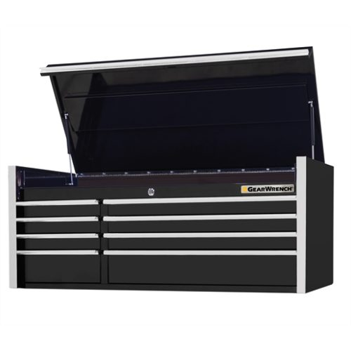 55in 8-Drawer Top Chest, Black- Chrome Handles