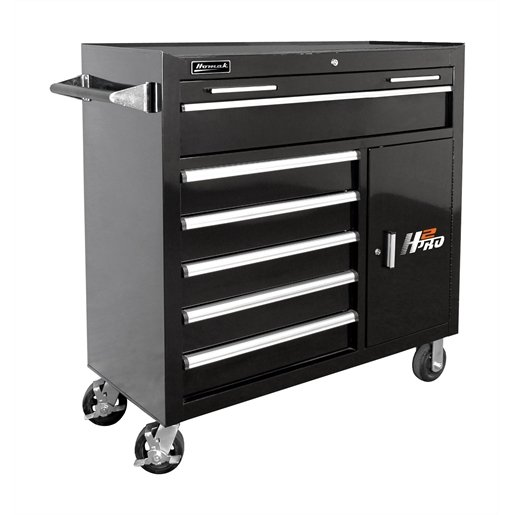 "41"" H2Pro Series 6 Drawer Rolling Cabinet -Black"