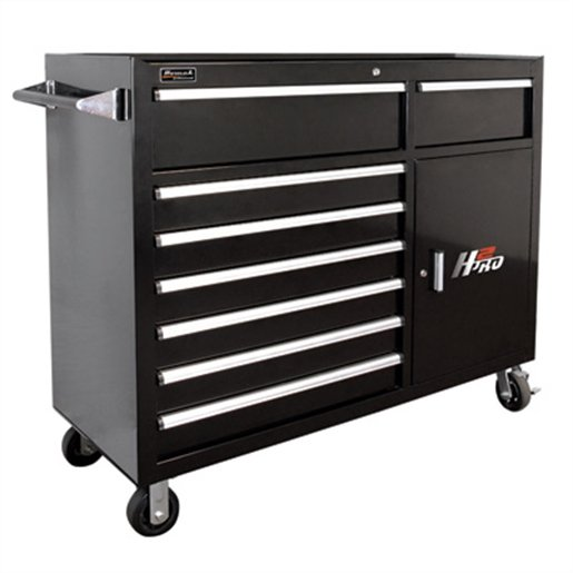 56in H2Pro  Series 8 Drawer Rolling Cabinet-Black