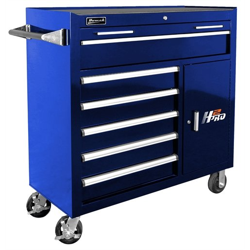 """41"""" H2Pro Series 6 Drawer Rolling Cabinet - Blue"""