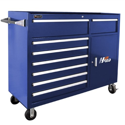 56in H2Pro  Series 8 Drawer Rolling Cabinet - Blue