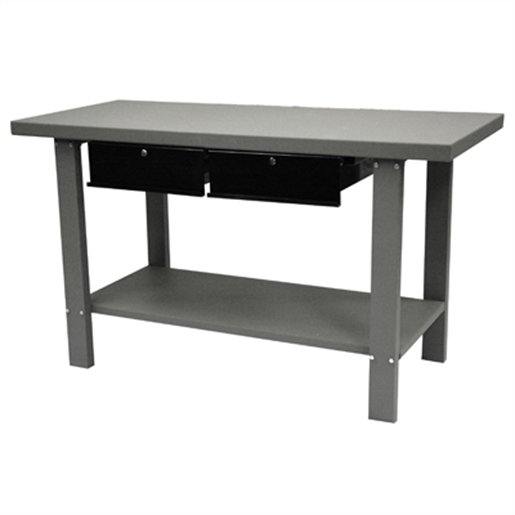 59in Industrial Steel Workbench with 2 Drawers