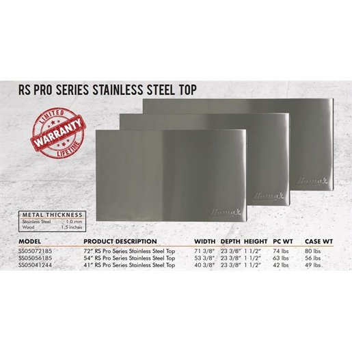 "72"" RS Pro Stainless Steel Worksurface"