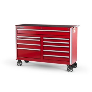 54 X 10 DRAWER MOBILE CABINET, RED