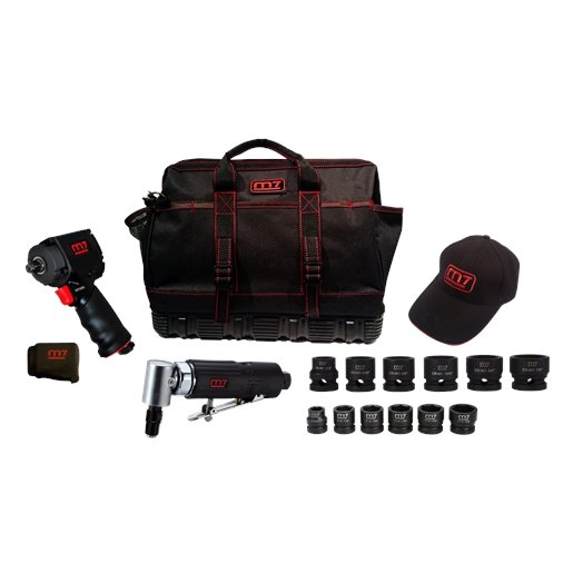 """1/2"""" DR. MIGHTY SEVEN AIR TOOL KIT TOOL BAG AND TWO 6 PC MINI IMP SETS"""