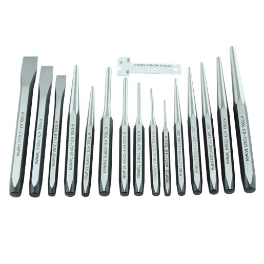 PUNCH & CHISEL SET 15 PC. IN PLASTIC TRAY