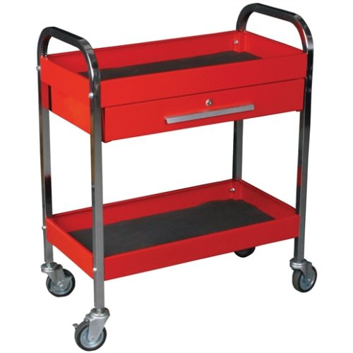 Steel Service Tool Cart with 1-Drawer and 2-Shelve