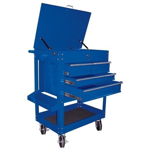 Heavy Duty 4-Drawer Service Cart, Blue