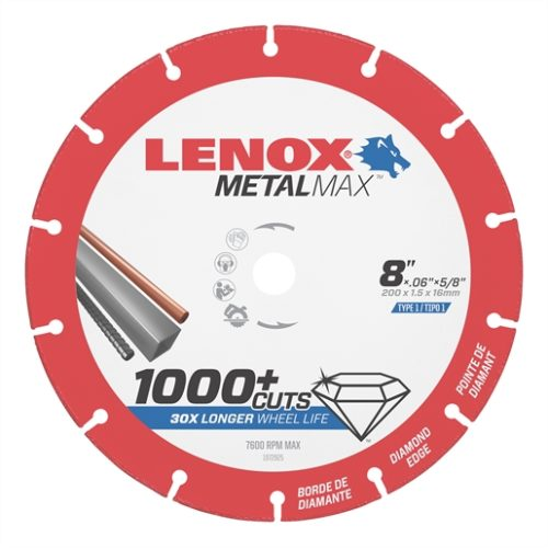 "LENOX Metal Max  DIAM CUTOFF WHEEL CS 8"" X 5/8"""