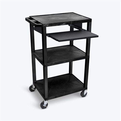 "42""H AV Cart, 3 Shelves, Pullout Shelf-Black"