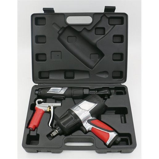 3-PC PROFESSIONAL AIR TOOL KIT - (IMP WRENCH, AIR RATCHET, AND HIGH-FLOW BLOW GUN)