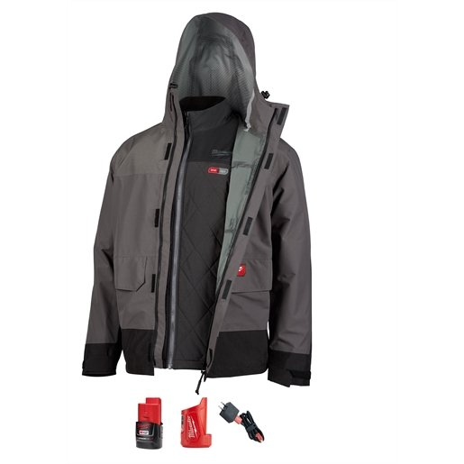 M12 3-IN-1 HEATED AXIS JACKET KIT GRAY RAINSHELL