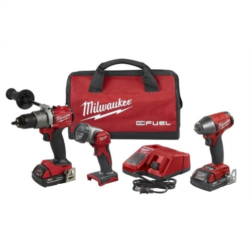 M18 FUEL 3PC AUTO DRILL, IMP WRENCH & LIGHT KIT