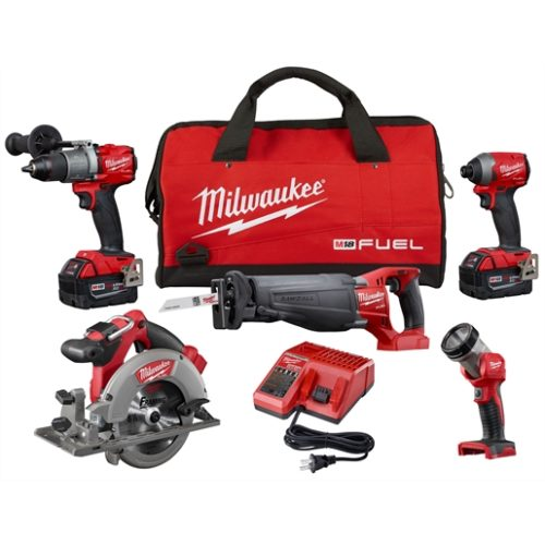 M18 FUEL 5-PC COMBO SAWZALL/ CIRCULAR SAHAMMER DRILL/ HEX IMP/ LIGHT (2) XC BATT KIT
