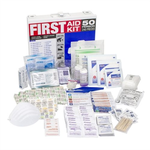 First Aid Kit in Metal Case Covers 50 People