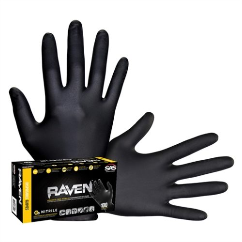 Raven Black 6mil PF Nitrile Gloves, Small (pk of 100)