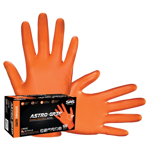 Box of 100 Astro-Grip Dual-Sided Scale Grip Latex-Free Disp. Gloves, L