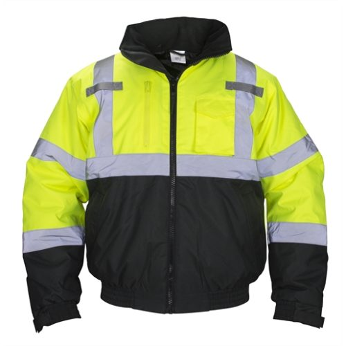 Class-3 Hooded Reflective Yellow Bomber Jacket, Size