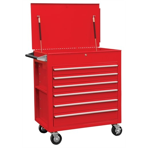 6 Full-Drawer Professional Cart, Red