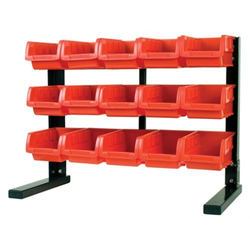 Table Top Storage Rack with 15 Red Plastic Bins, S
